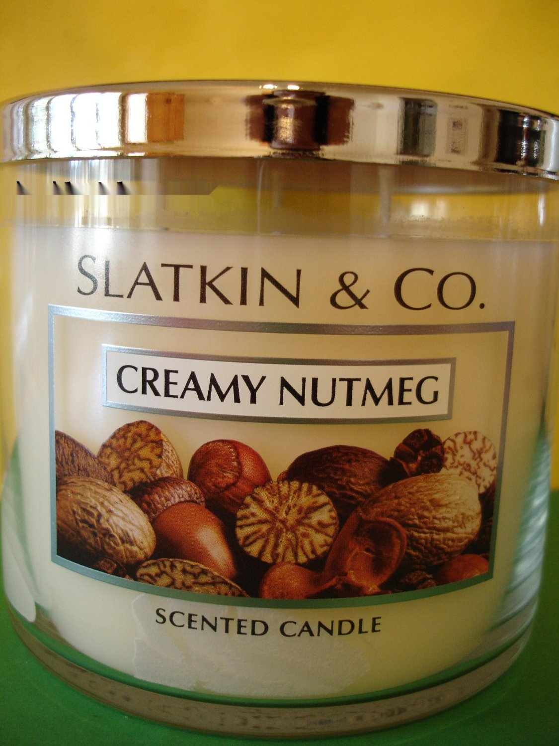 Bath Body Works Slatkin Creamy Nutmeg 3 Wick Candle Large