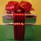 Bath and Body Works Twisted Peppermint Silver Red Present Figural Candle 3 oz