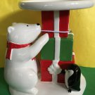 Bath and Body Works Polar Bear Penguin Presents Ceramic Pedestal Candle Holder