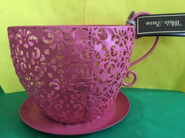 Bath and Body Works White Barn Pink Tea Cup Metal Luminary Candle Holder