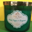 Bath & Body Works Black Pepper Bergamot Green Glass Candle 3 Wick Large