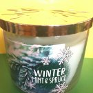 Bath and Body Works Winter Mint and Spruce Candle Large Full Size 3 Wick