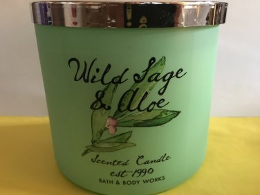 Bath & Body Works Wild Sage and Aloe 3 Wick Cande Large