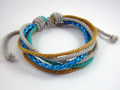 Unisex blue Silver Leather with Cord Bracelet