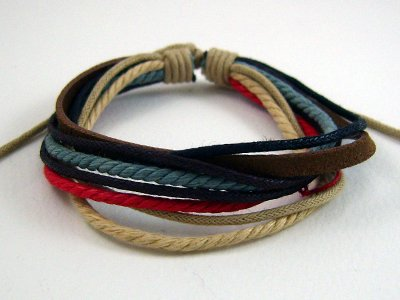 Unisex multi Leather with Cord Bracelet Free Shipping a