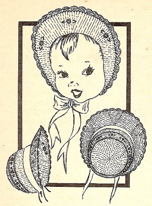 Knitted Bonnet with Wide Brim Pattern 1949 Vintage - 726022