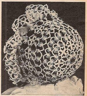 Christening Bonnet in Tatting Pattern Vintage - 729006