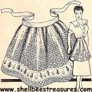 Embroidered Band on Crocheted Apron Pattern-Vintage 723021