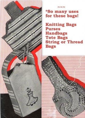 Purses-Handbags-Tote Bags '3' Vintage Crochet Patterns 723033