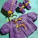 Orchid Cap, Sacque and Bootees Crochet Pattern 723059