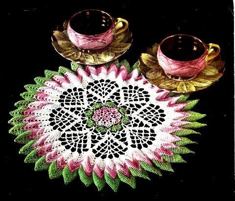 Sunburst Rose Doily Pattern Crocheted Vintage 723071