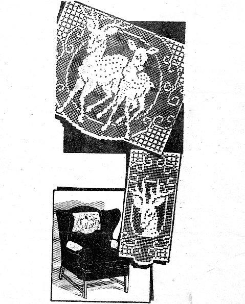 Deer Crochet Chair Set - Laura Wheeler Design -Vintage 723017