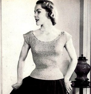 Ribbon and Yarn Evening Blouse Knitting Pattern 726058