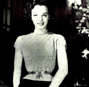 Pine Tree Lace Blouse Knitting Pattern Vintage 726060