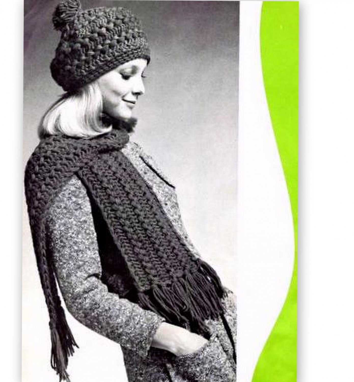 Tam Hat Cap and Scarf Pattern in Hairpin Lace Vintage 725007