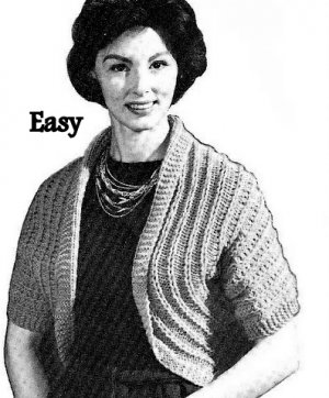 Easy Simple Shrug Pattern Knitted Vintage 726071