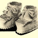 Ski Bootees Vintage Crochet Pattern 723093
