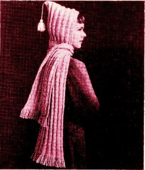 Hooded Scarf Knitting Pattern Vintage 726054