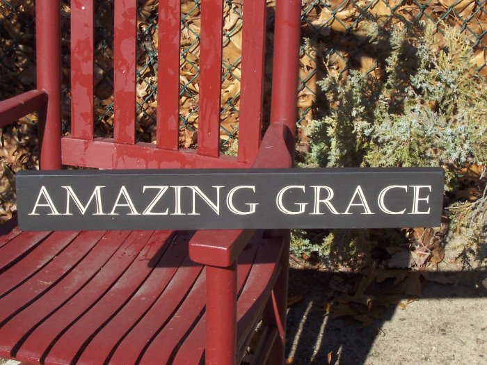Primitive French Country Chic Wood Vinyl Sign - Amazing Grace