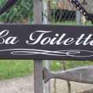 French Country Shabby Paris Wood Vinyl Bathroom Sign - La Toilette
