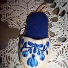 Vintage Slipper Crewel Design Pin Cushion - Embroidered Tapestry