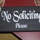 No Soliciting Please Wood Vinyl Lettering Sign - Custom Made