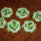 Vintage Handmade Irish Green Crocheted Drinking Glass Coasters