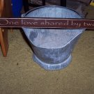 One Love Shared By Two - Wedding Wood Sign -  Primitive Home Decor