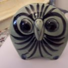 Whimsical Vintage Ceramic Painted Owl / Mexican Ceramic Decorative Bird