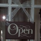 Whimsical Urban Brown Retail Open Closed Wood Sign with Ribbon