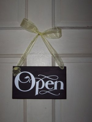 Whimsical Retail Open Closed Wood Vinyl Sign with Ribbon - Shabby Shop Retail Signage