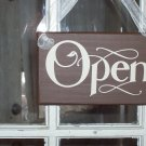 Whimsical Open Closed Retail Shabby Shop Wood Vinyl Sign - Commercial Store Signage