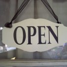 Whimsical Shop Open Close Store Hours Scalloped Wood Vinyl Sign