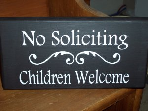 No Soliciting Children Welcome Wood Vinyl Sign Home Decor Door Hanger