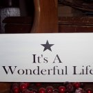 It's A Wonderful Life Shabby Cottage Shelf Sitter Block Wood Vinyl Sign Home Decor