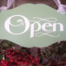 Vintage Chic Style Retail Shabby Shop Open Closed Wood Vinyl Sign