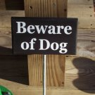 Beware of Dog Wood Vinyl Sign with Metal Stake Yard Garden Outdoor Home Decor