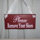 Primitive Shabby Cottage Chic Please Remove Your Shoes Wood Vinyl Sign Door Hanger
