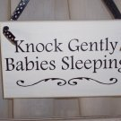 Whimsical Shabby Cottage Knock Gently Babies Sleeping Wood Vinyl Sign