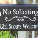 Primitive Shabby Heritage Wood Vinyl Sign - No Soliciting  - Girl Scouts Welcome Wreath Door Hanger