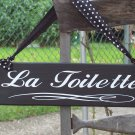 French Country Shabby Paris Wood Vinyl Bathroom Sign - La Toilette