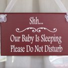 Primitive Shabby Cottage Chic Wood Vinyl Sign - Shh Baby Sleeping Do Not Disturb