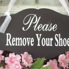 Whimsical Chic Style Please Remove Your Shoes Wood Vinyl Sign Wreath Door Hanger Home Decor Plaque