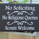 Primitive Shabby Cottage Heritage Wood Vinyl Sign No Soliciting Scouts Welcome