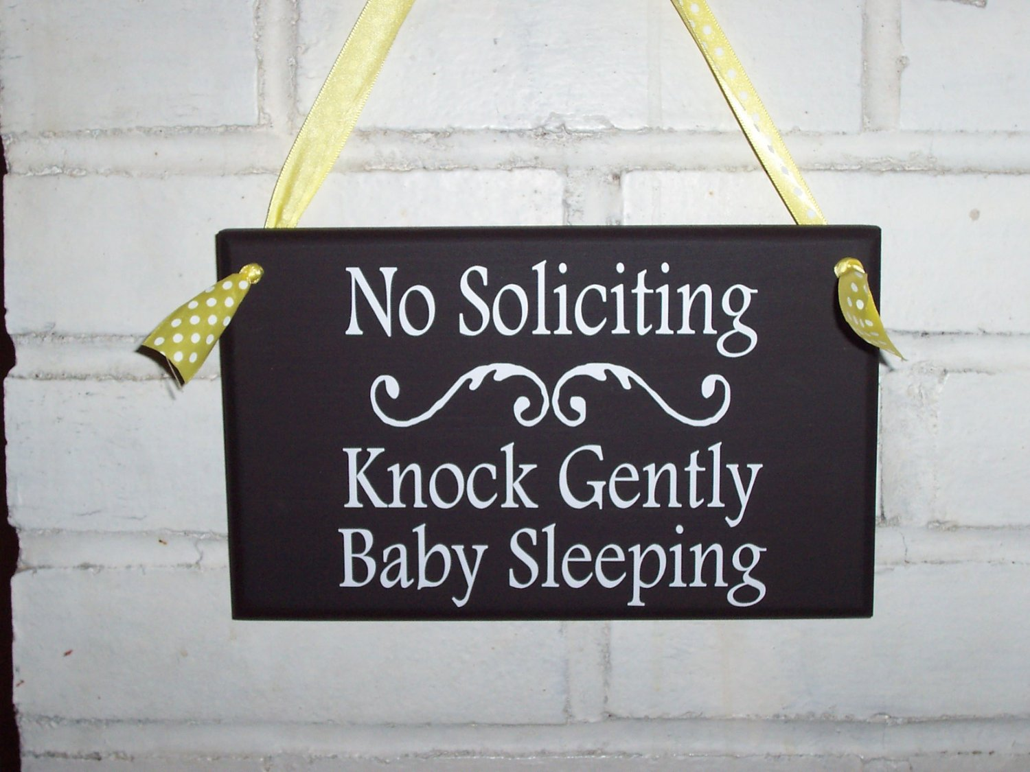 No Soliciting Knock Gently Baby Sleeping Wood Vinyl Sign - Wreath Door Hanger Home Decor