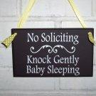 No Soliciting Knock Gently Baby Sleeping Wood Vinyl Sign - Wreath Door Hanger Home Decor