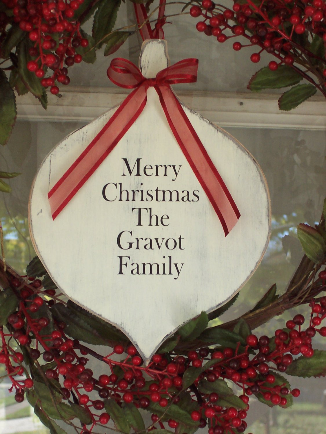 Cottage Chic Distress Christmas Ornament Wood Vinyl Sign Family Name Sign