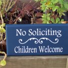 Whimsical Blue and White No Soliciting Children Welcome Door Wreath Wood Vinyl Sign