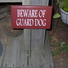 Beware of Guard Dog Wood Vinyl Sign with Metal Stake Yard Garden Outdoor Home Decor