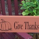 Give Thanks Fall Autumn Holiday Wood Vinyl Sign Whimsical Home Decor